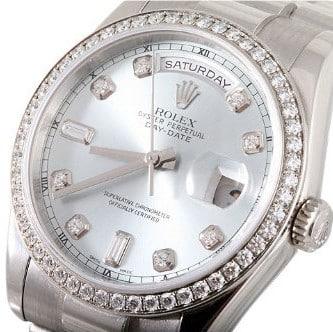Rolex-Mens-Platinum-President-Silver-Diamond-Dial